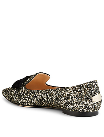 JIMMY CHOO Gala Glitter Flats Womens Black