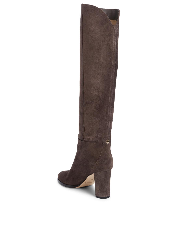 9ed37ce7327 ... JIMMY CHOO Madalie 80 Suede Knee-High Boots Womens Grey ...