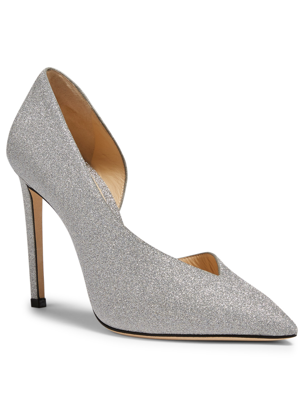 0919e9075cd ... JIMMY CHOO Sophia 100 Glitter Pumps Womens Silver ...