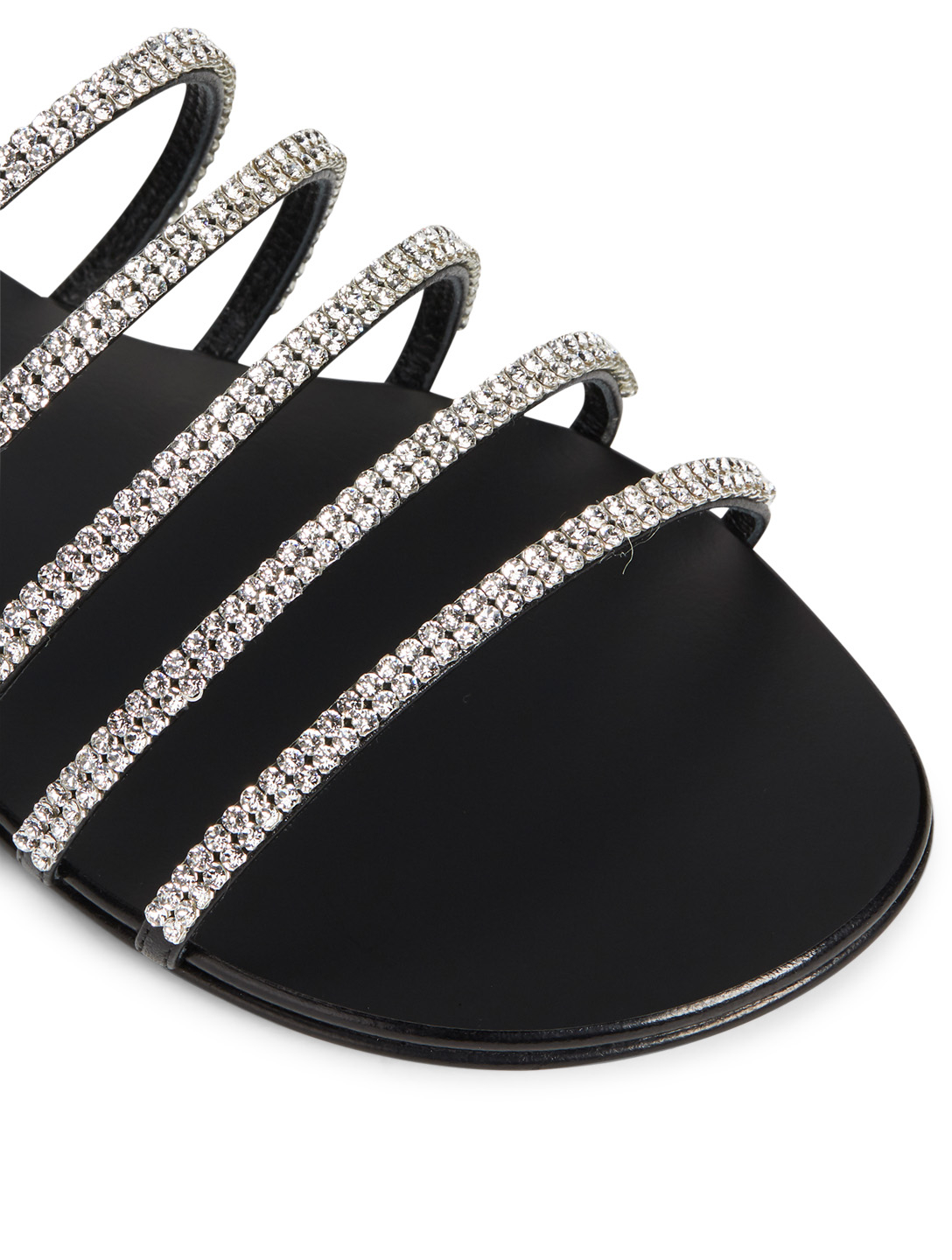 GIUSEPPE ZANOTTI Michela Leather Sandals With Crystals Womens Black
