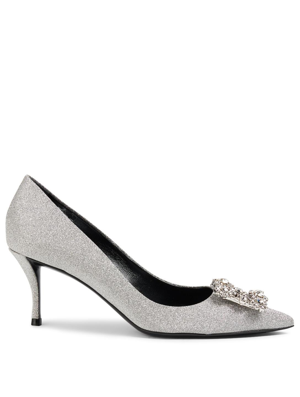 0f8fadcec01 ROGER VIVIER Flower Strass Glitter Pumps Womens Silver ...