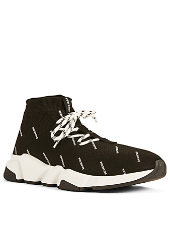 BALENCIAGA Speed Lace-Up Sock Sneakers In Logo Print Men's Black