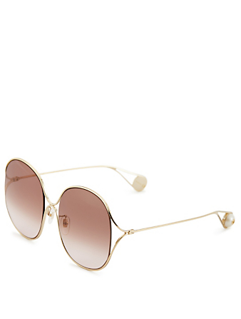 GUCCI Oversized Sunglasses Women's Gold