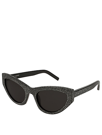 SAINT LAURENT SL 215 Grace Cat Eye Sunglasses With Crystals Women's Black