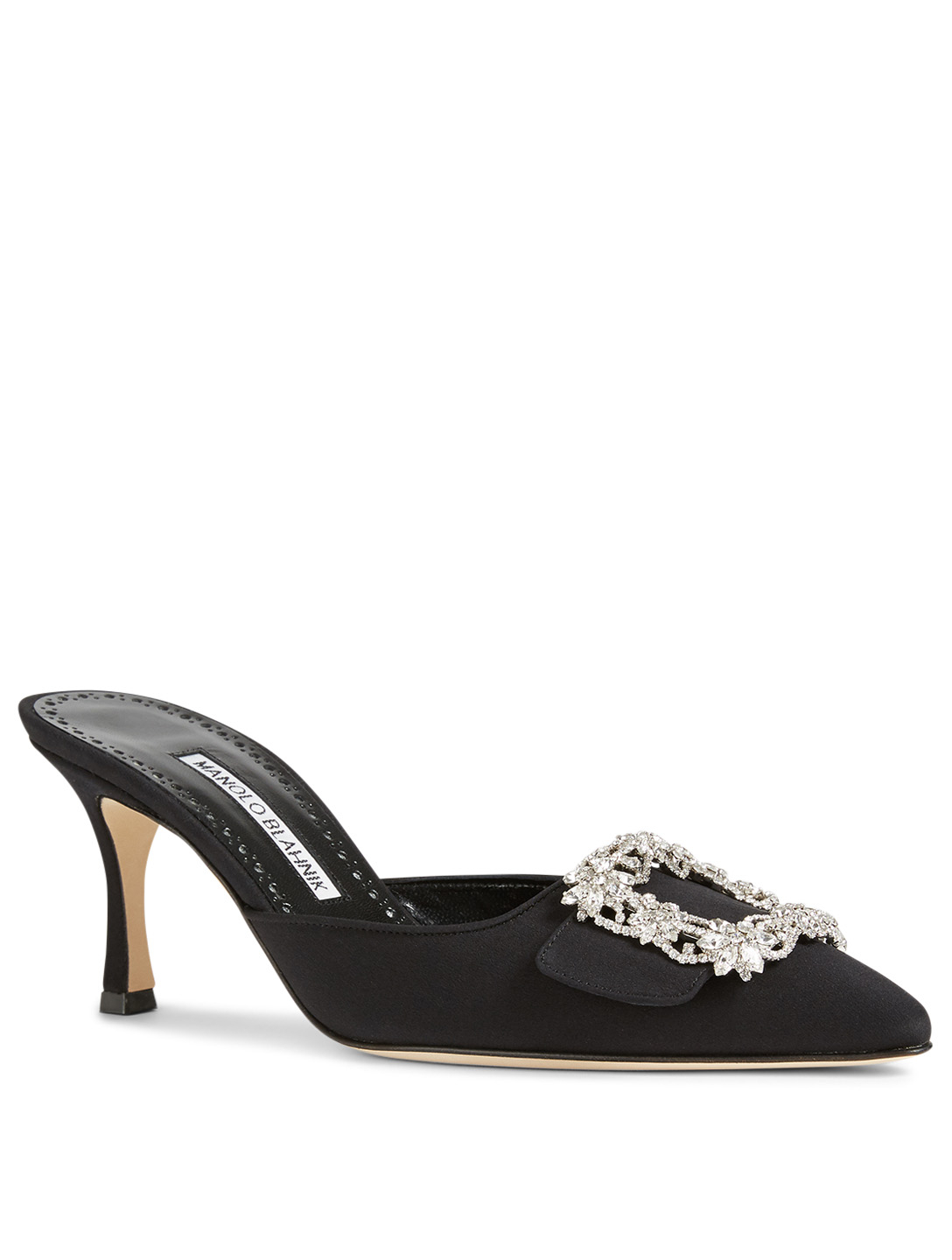 MANOLO BLAHNIK Maysale Jewel Silk Mules Women's Black