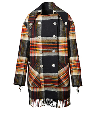 CALVIN KLEIN Pendleton Plaid Pea Coat Women's Multi