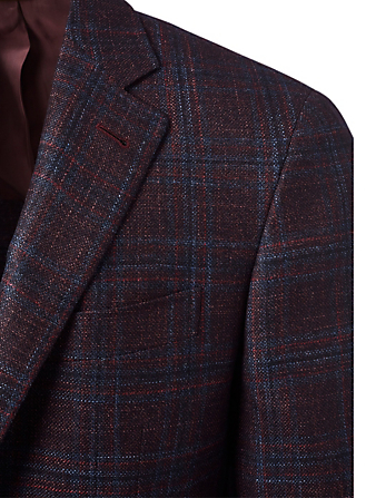 CANALI Wool Blend Single-Breasted Blazer In Checkered Print Men's Red