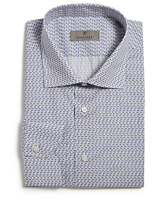 CANALI Dress Shirt In Geo Print Men's Blue