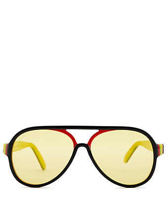 GUCCI Round Aviator Sunglasses Men's Yellow