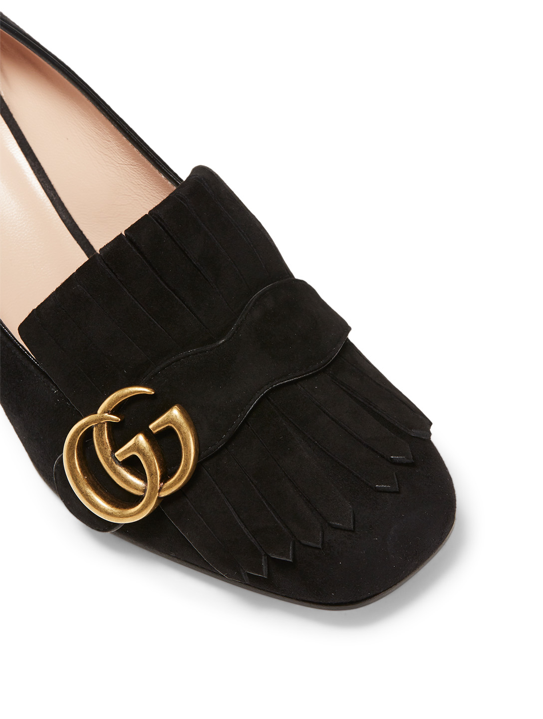 GUCCI Marmont Suede Loafer Pumps Designers Black