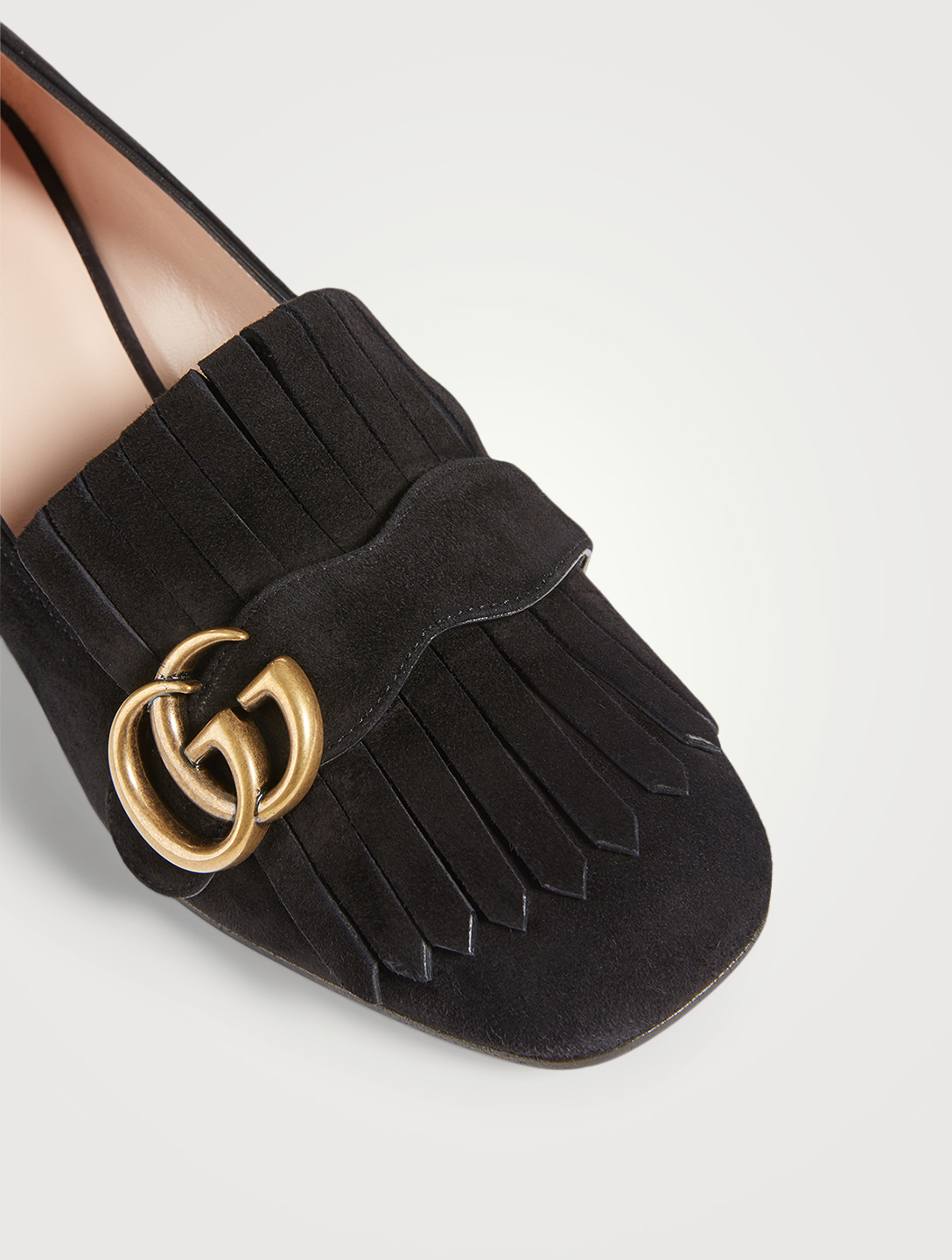 GUCCI Suede Heeled Loafers With Double G Women's Black