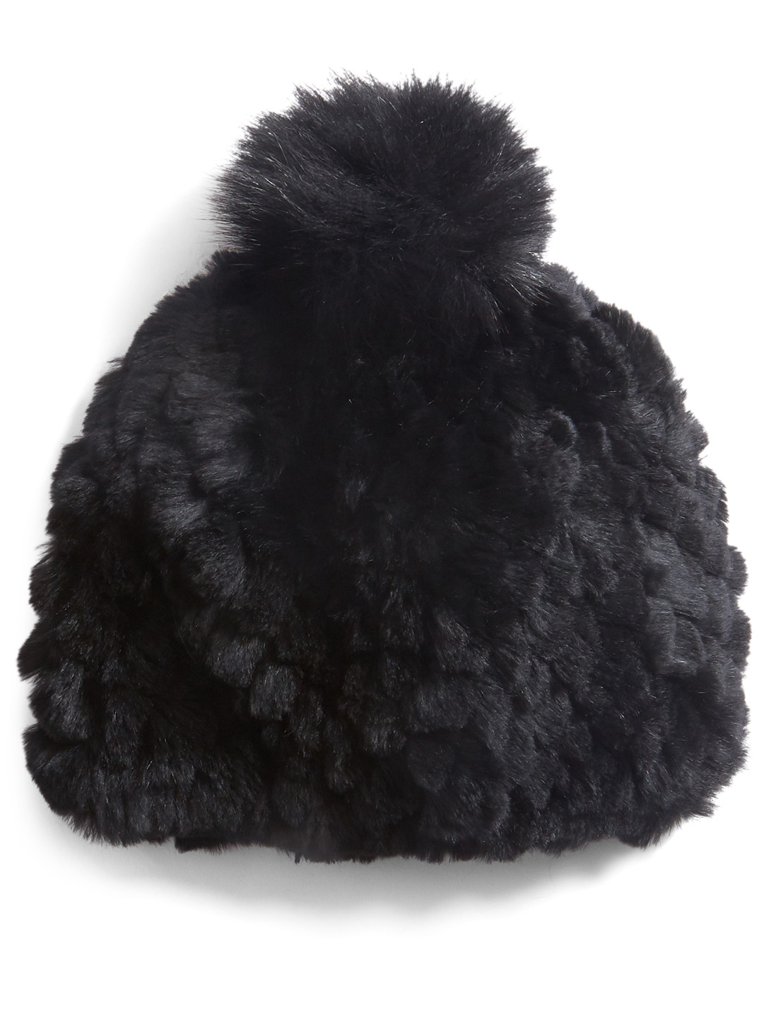 POLOGEORGIS Knit Rabbit Toque With Fur Pom-Pom Womens Black
