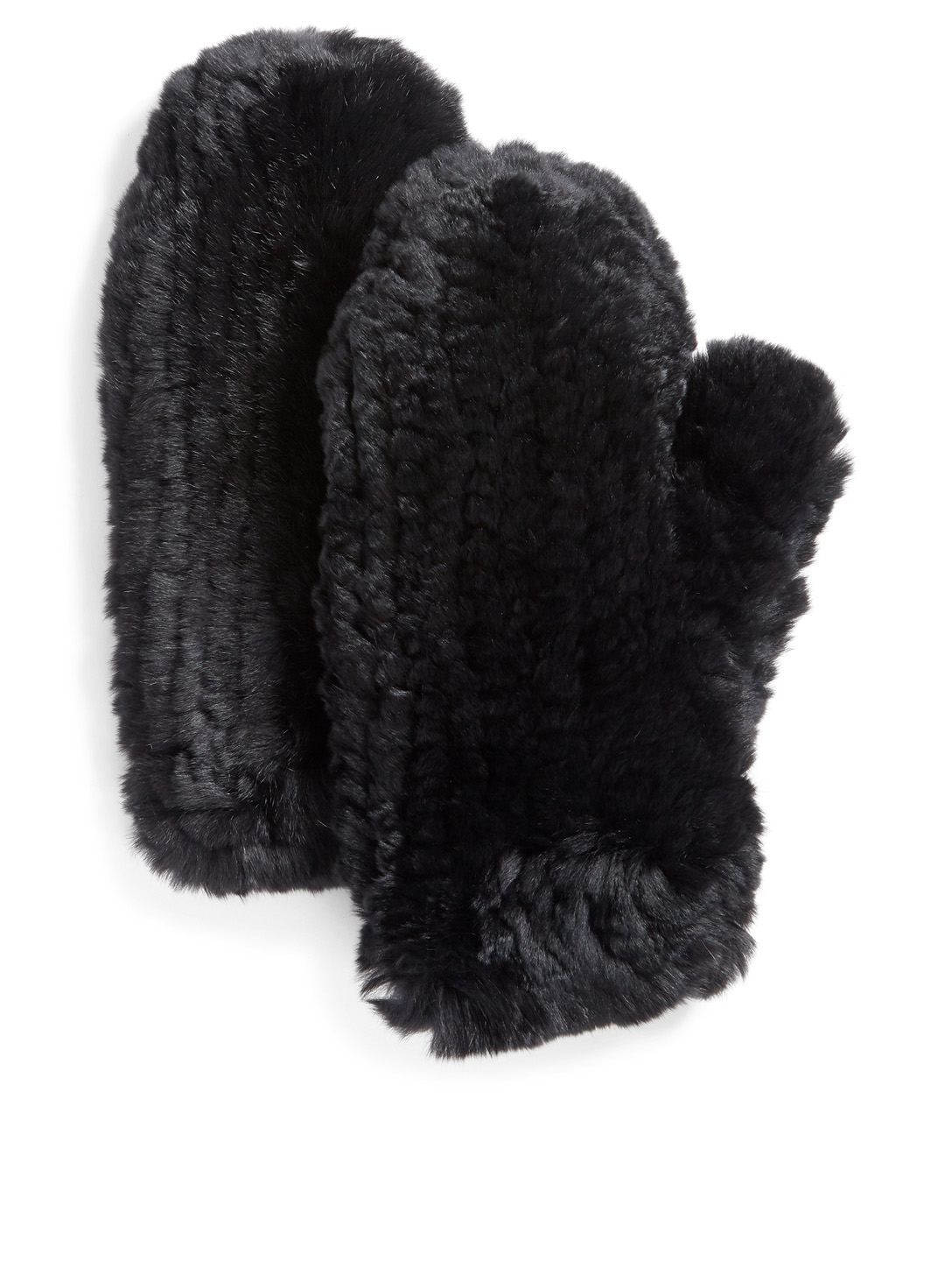 POLOGEORGIS Knit Rabbit Mittens Womens Black