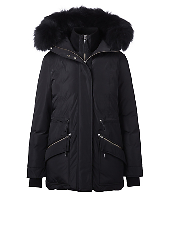 MACKAGE Katryn Down Coat With Fur Hood Womens Black