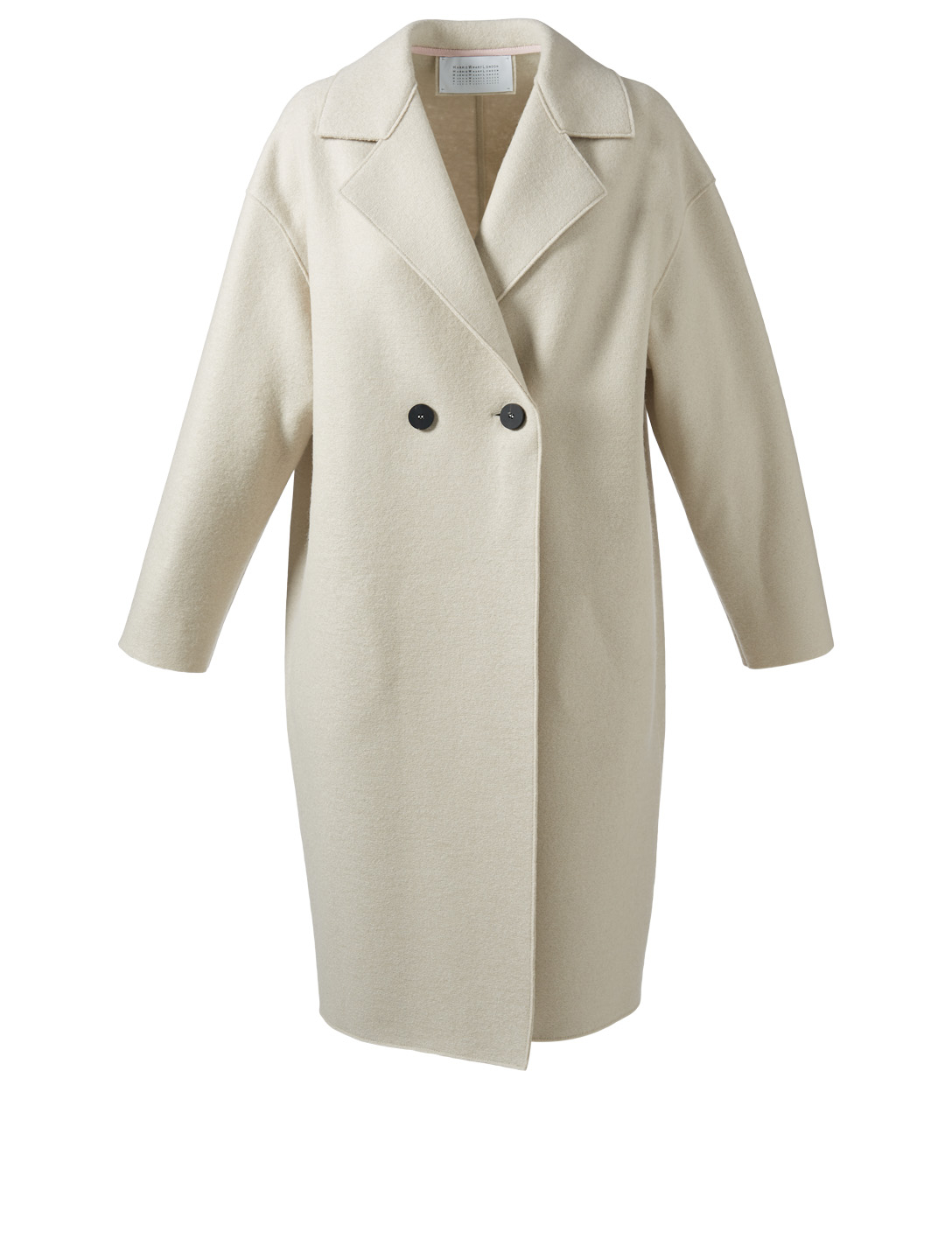 HARRIS WHARF LONDON Pressed Wool Double-Breasted Coat Women's White