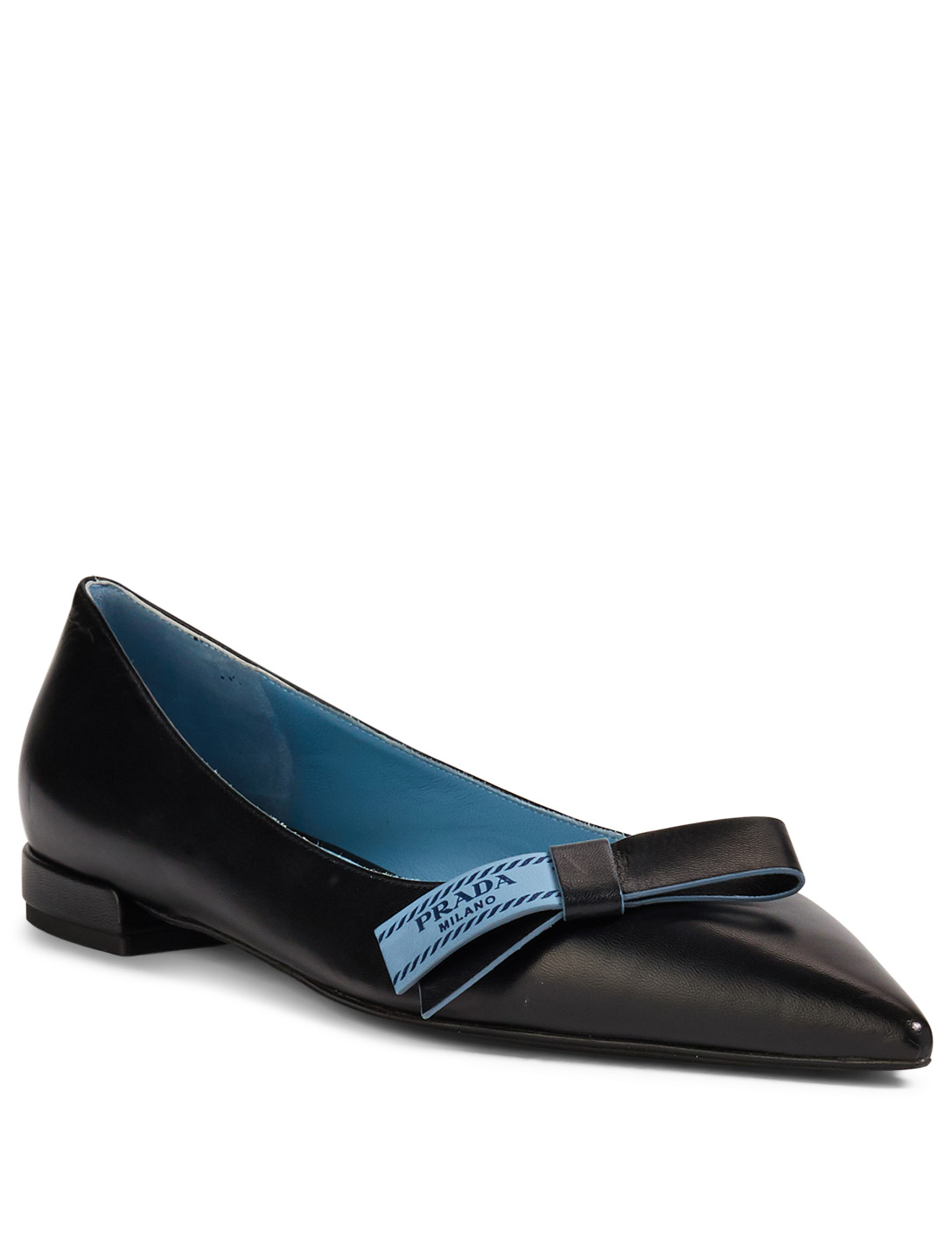 PRADA Leather Ballet Flats With Logo Bow Womens Black