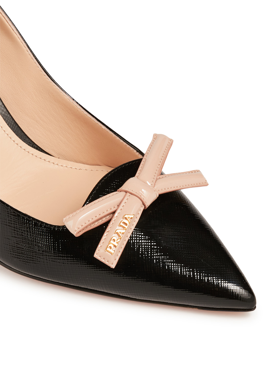 PRADA Leather Pumps With Bow Womens Black