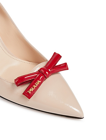 PRADA Leather Pumps With Bow Womens Neutral