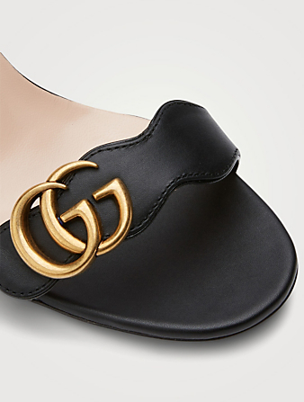 GUCCI Leather Heeled Sandals With Double G Women's Black