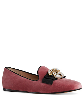 GUCCI Étoile Velvet Loafers With Pearls Womens Pink
