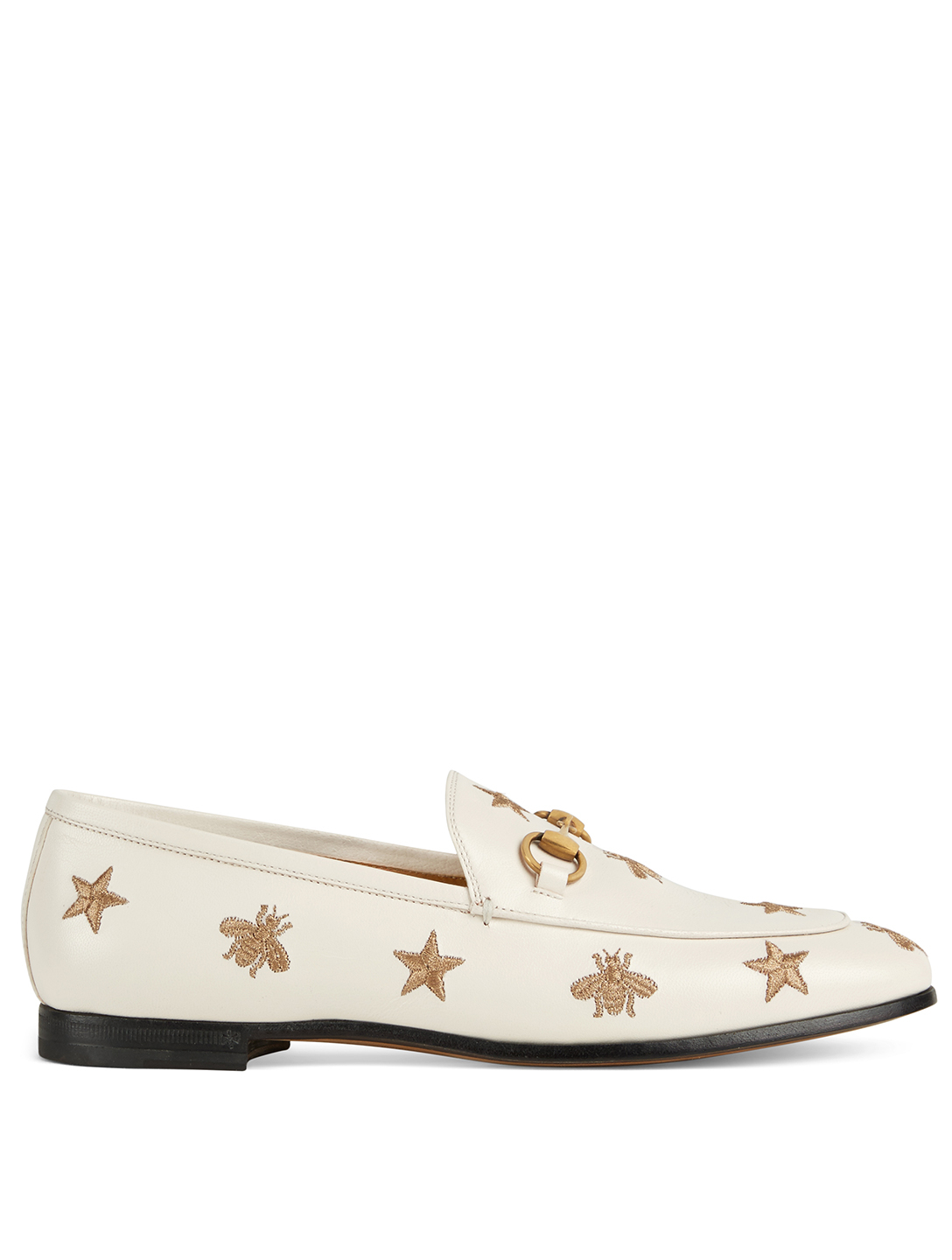 GUCCI Jordaan Embroidered Leather Loafers Women's White