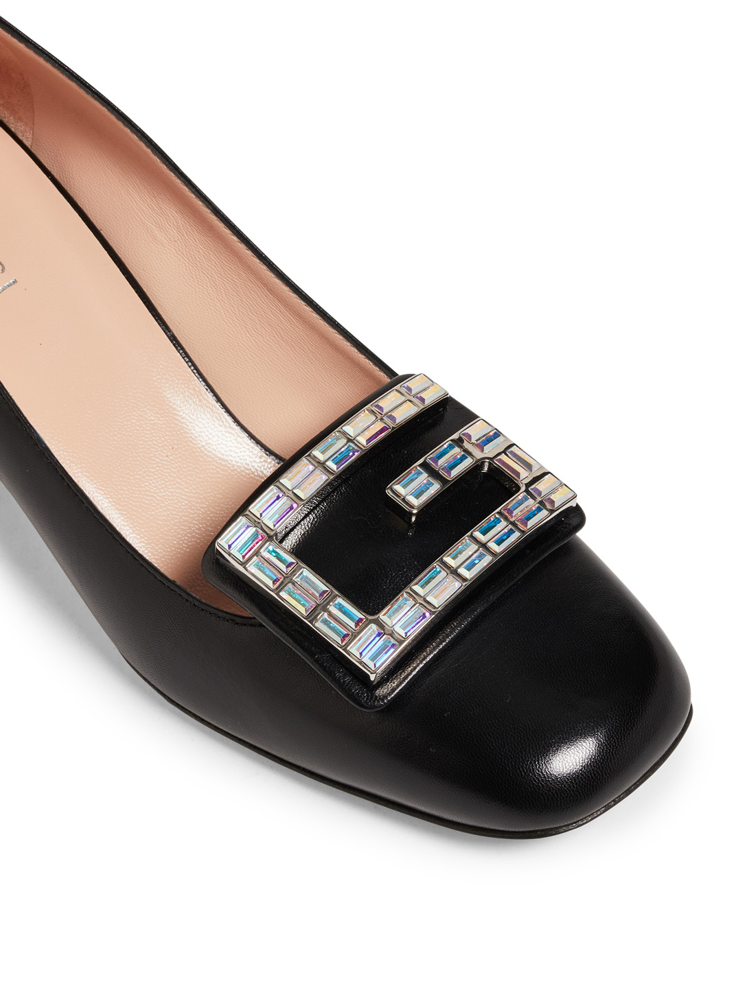 GUCCI Madelyn Leather Pumps With Crystal G Designers Black