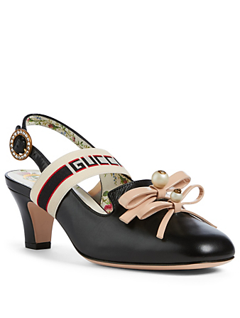 GUCCI Buffy Leather Slingback Pumps Womens Black