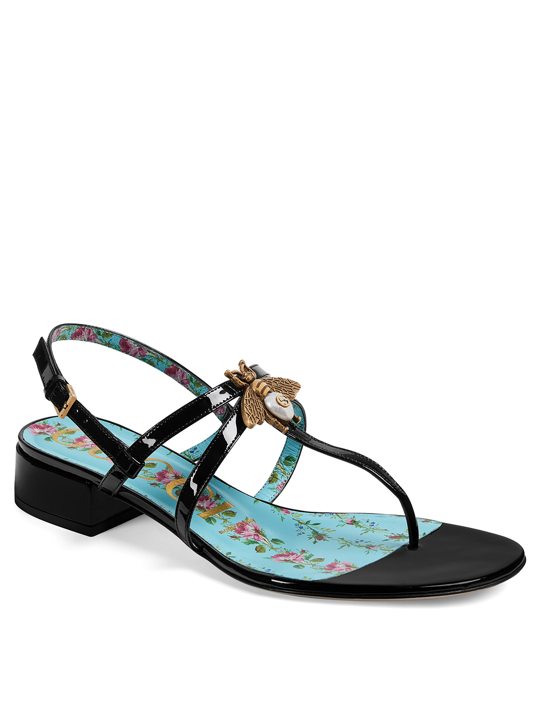 GUCCI Lois Patent Leather Sandals With Bee Detail Designers Black