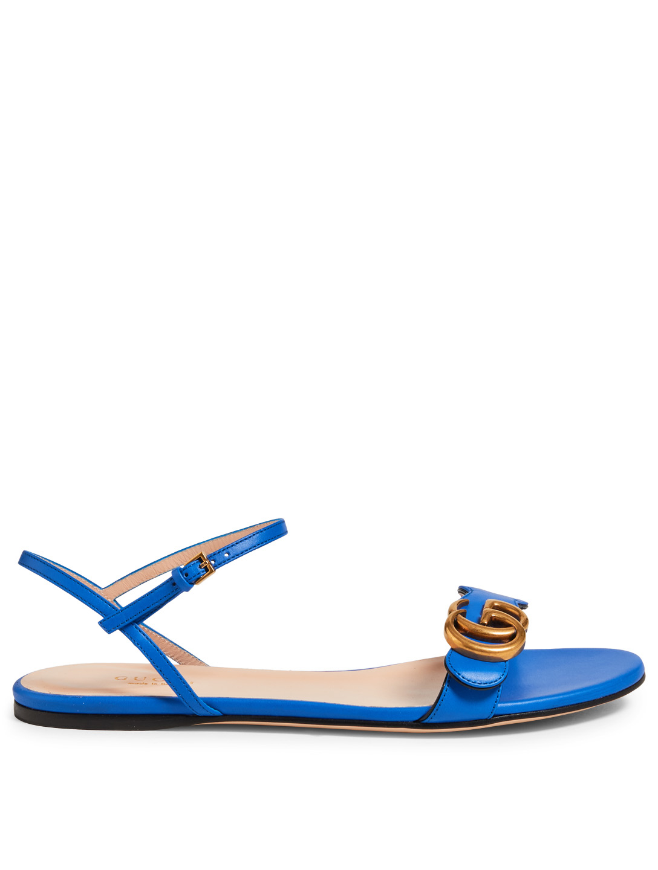 f3ce0e2f07eb GUCCI Marmont Leather Sandals Women s Blue ...