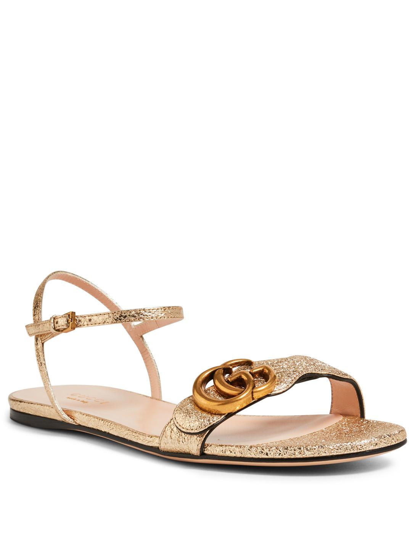 7701c725e72e54 ... GUCCI Marmont Metallic Leather Sandals Womens Gold ...