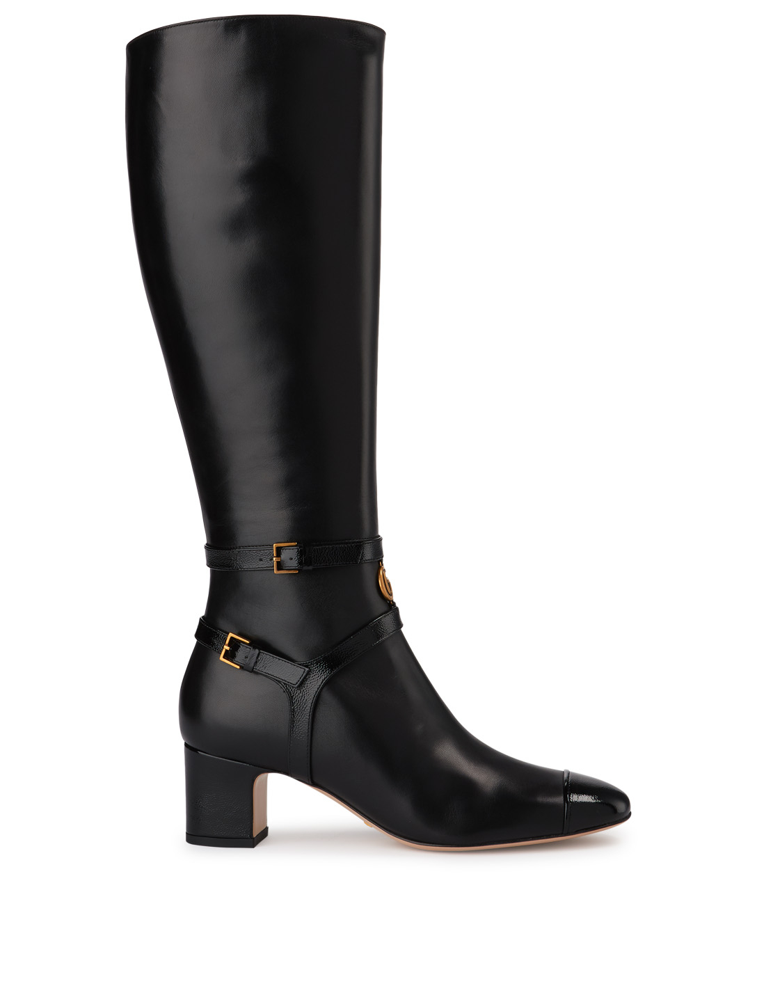 GUCCI Geraldine Leather Knee-High Cap-Toe Boots Womens Black