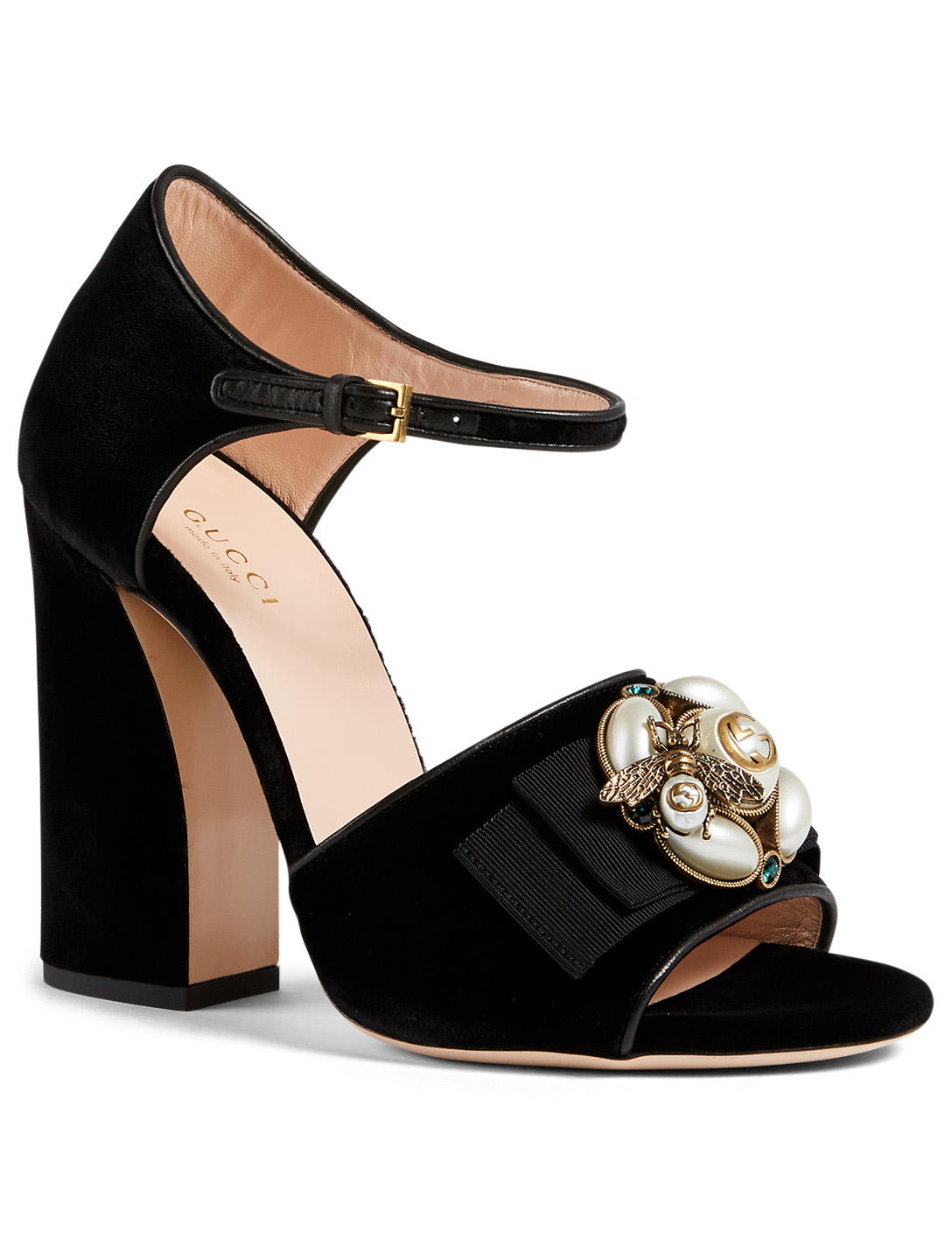 GUCCI Étoile Velvet Heeled Sandals With Bee Detail Designers Black