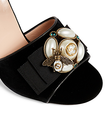 GUCCI Étoile Velvet Mules With Bee Detail Designers Black