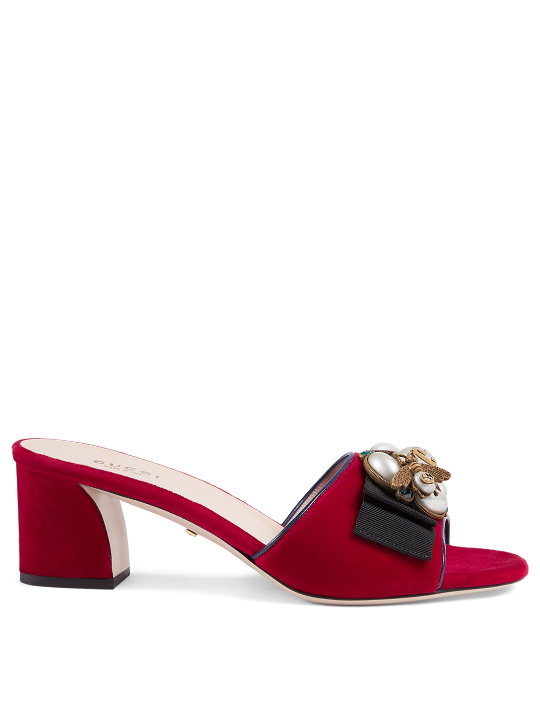 GUCCI Étoile Velvet Sandals With Bee Detail Designers Red