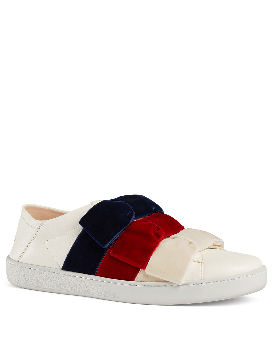 f067da2219f ... GUCCI New Ace Leather Sneakers With Triple Velvet Bow Womens White ...