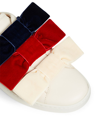 21587fd04 ... GUCCI New Ace Leather Sneakers With Triple Velvet Bow Womens White