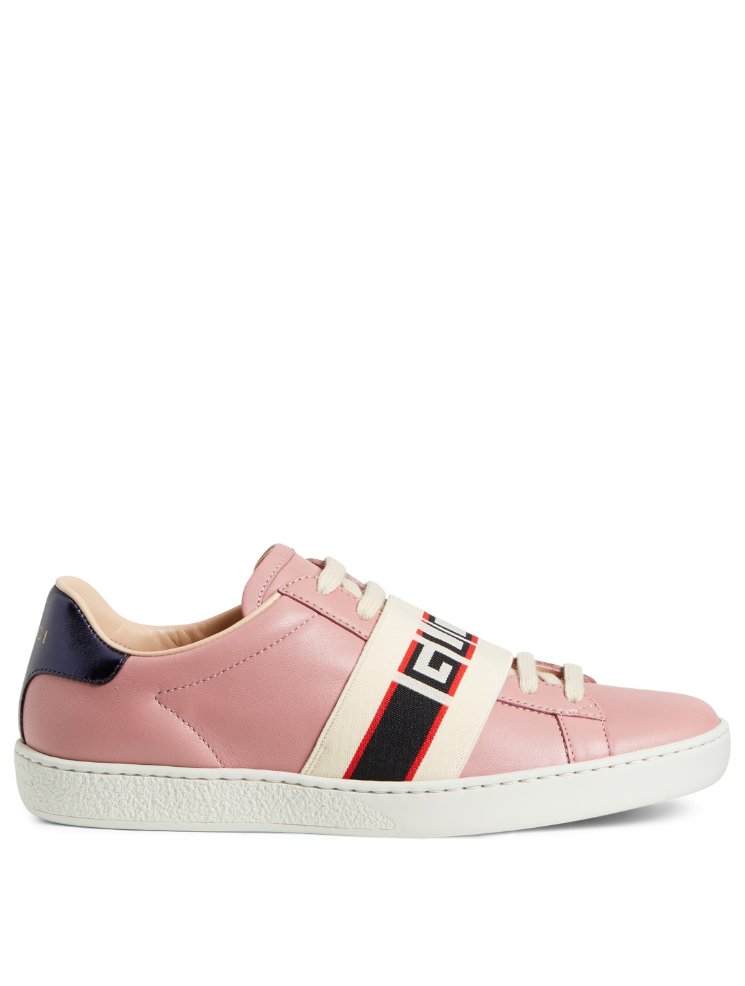 70f6f4c6b42 GUCCI New Ace Leather Sneakers With Logo Strap