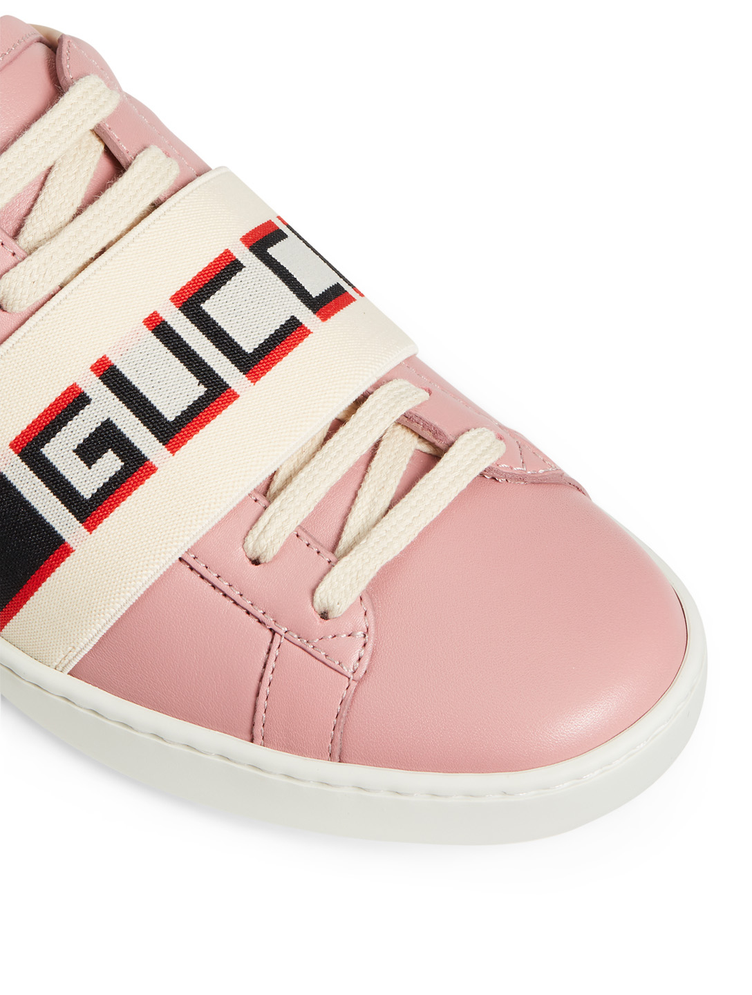 fe83a4797d5 ... GUCCI New Ace Leather Sneakers With Logo Strap Women s Pink