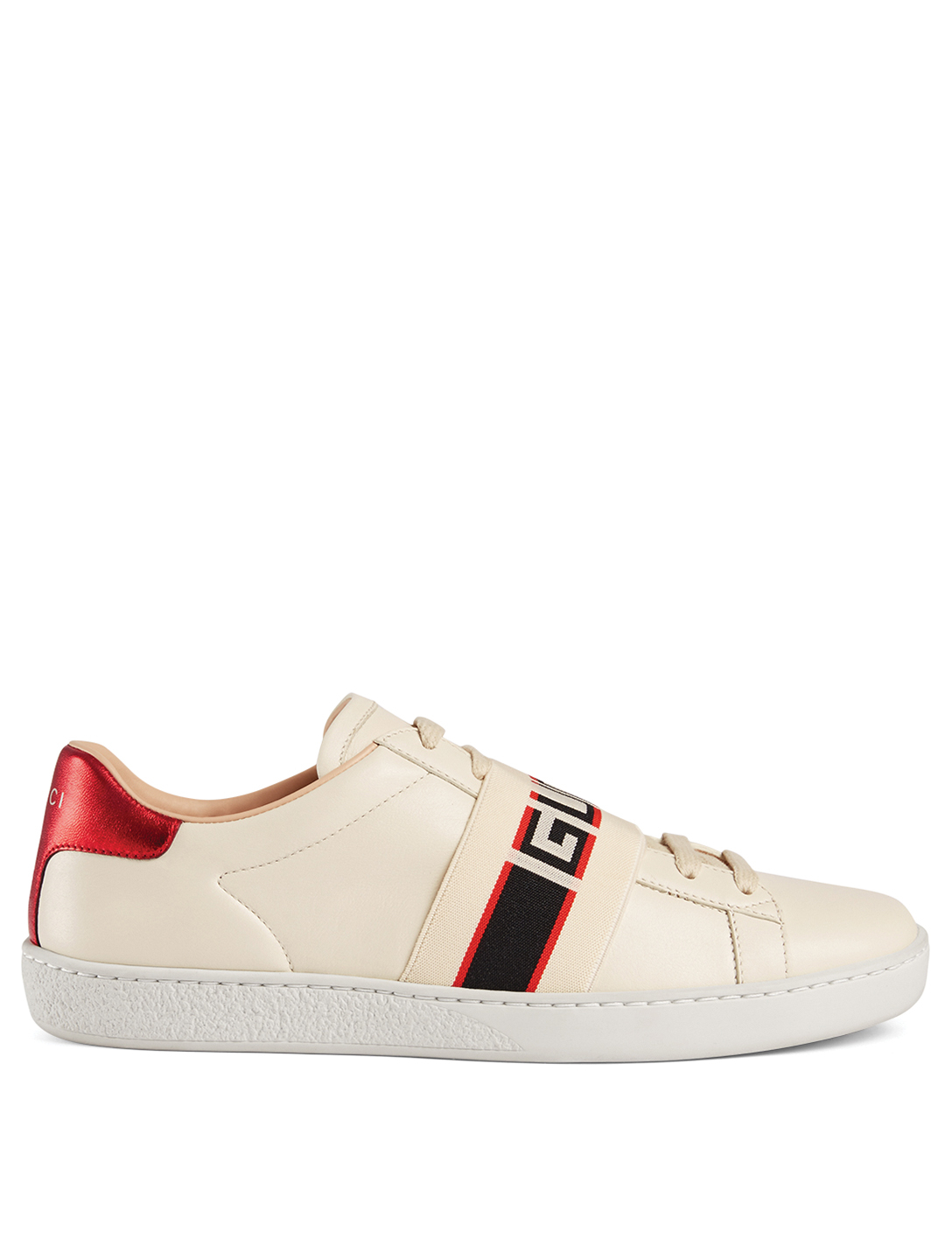 34c93b6064e GUCCI New Ace Leather Sneakers With Logo Strap Women s White ...