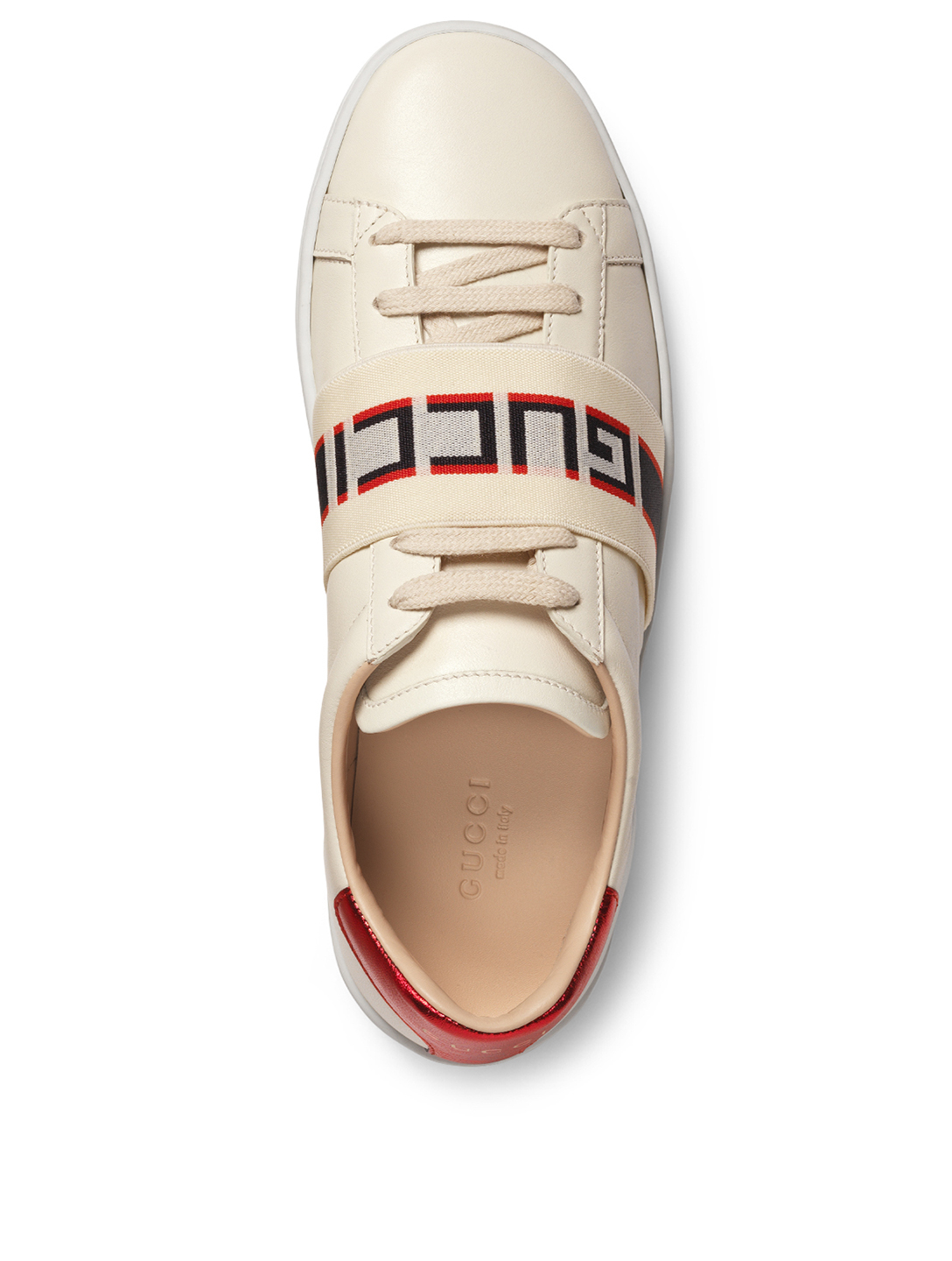 0a1e0b3ebbc ... GUCCI New Ace Leather Sneakers With Logo Strap Women s White
