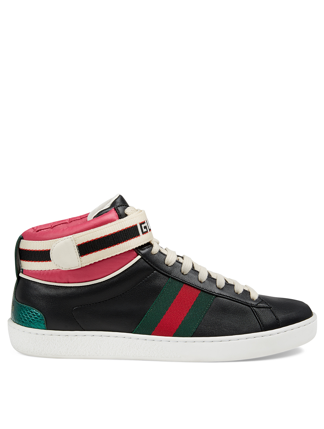 GUCCI New Ace Leather Sneakers With Logo Strap Womens Black