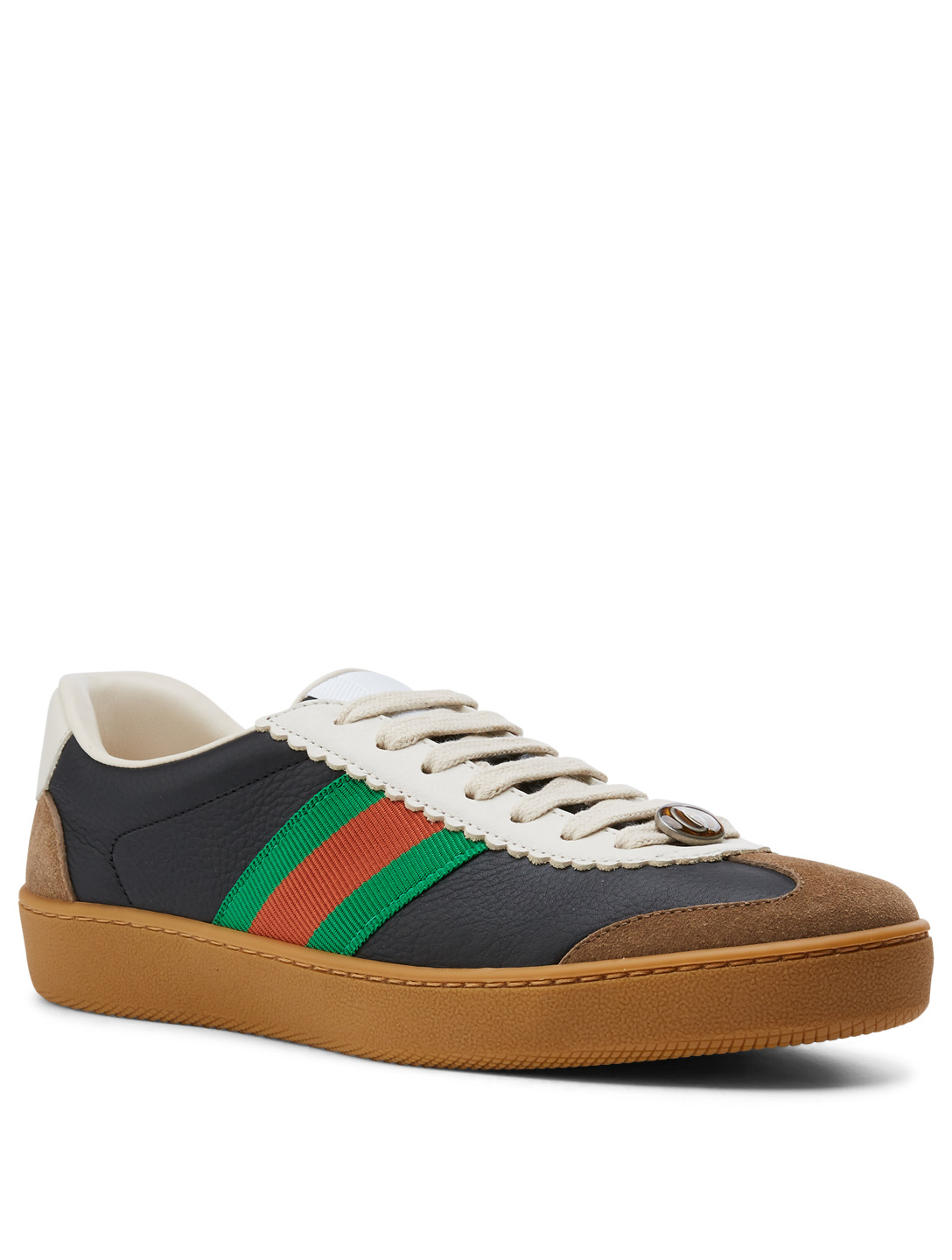 GUCCI G74 Leather Sneakers With Web Designers Black