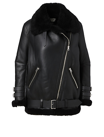 ACNE STUDIOS Shearling Aviator Jacket Women's Black