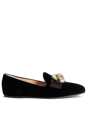 GUCCI Étoile Velvet Loafers With Bee Detail Womens Black
