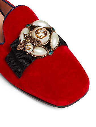 GUCCI Étoile Velvet Loafers With Bee Detail Womens Red