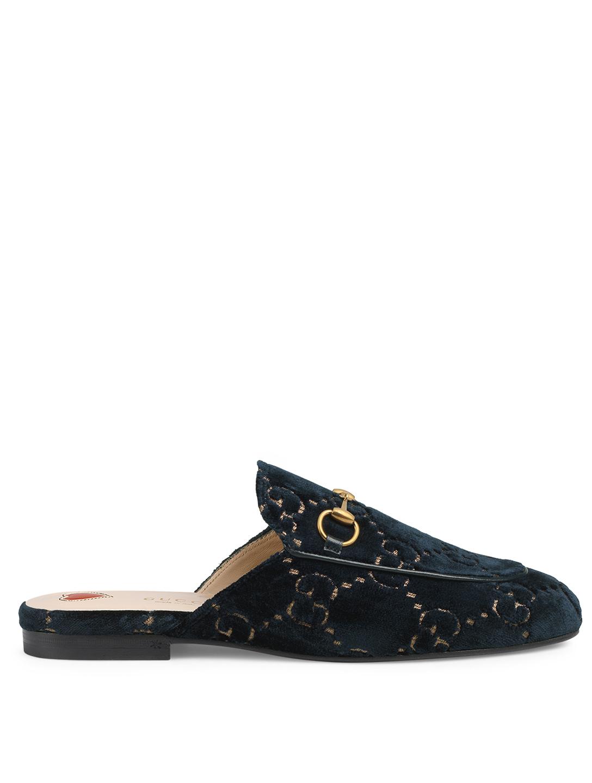 0f8708aafc3 GUCCI Princetown Velvet Slippers In GG Print Women s ...