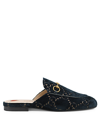 GUCCI Princetown Velvet Slippers In GG Print Womens Blue