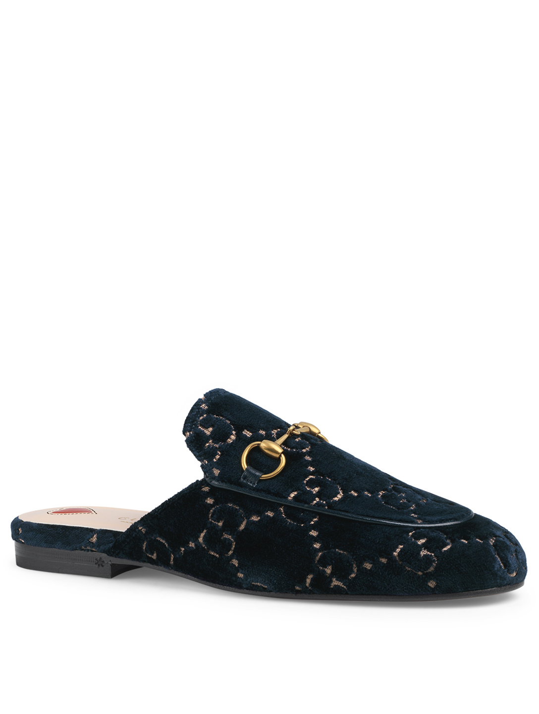 GUCCI Princetown Velvet Slippers In GG Print Women's Blue