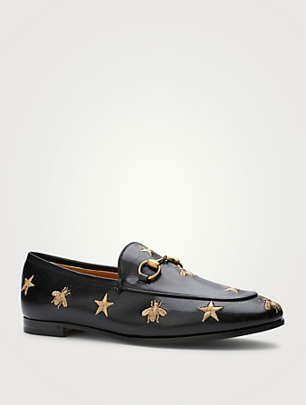 GUCCI Jordaan Leather Loafers With Embroidery Women's Black