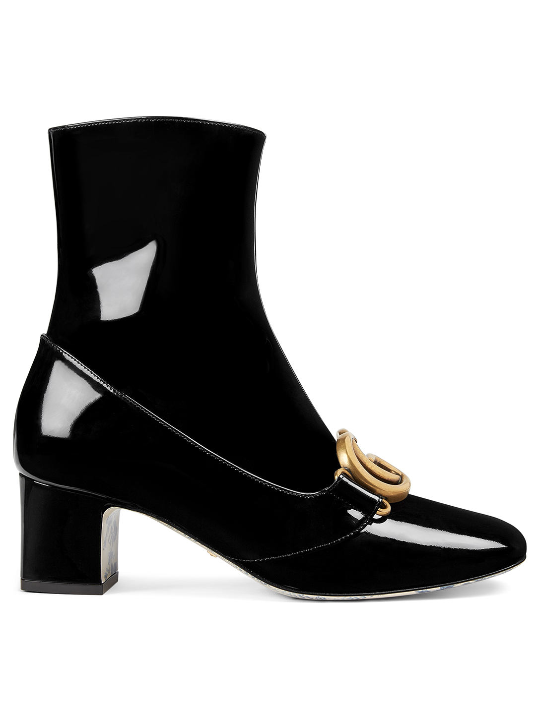 GUCCI Victoire Patent Leather Ankle Boots Designers Black